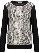 Equipment Roland Paneled Wool And Snake-Print Washed-Silk Top