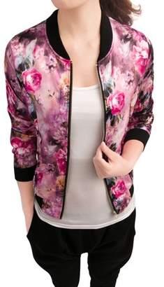 Unique Bargains Women's Stand Collar Front Zipper Floral Print Satin Bomber Jacket