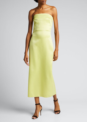Brandon Maxwell Strapless Wool-Silk Midi Dress
