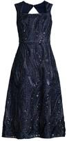 Aidan Mattox Square-Neck Beaded A-Line Dress