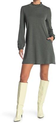 MelloDay Lurex Elastic Knit High Neck Long Sleeve Dress