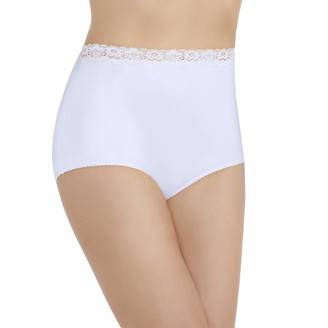 Vanity Fair Women's Perfectly Yours Nylon With Lace Brief Panty 13060 - Star White - 7