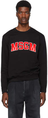 MSGM Black and Red College Logo Sweatshirt