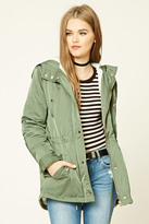 Forever 21 FOREVER 21+ Satin and Faux Shearling Parka