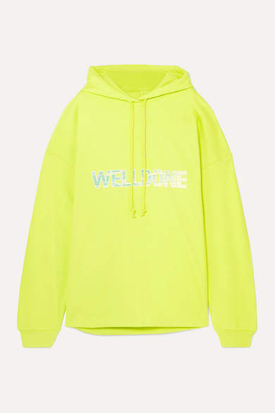 we11done Oversized Printed Cotton-jersey Hoodie - Chartreuse