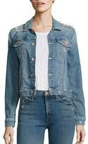 Mother The Bruiser Distressed Cropped Denim Jacket