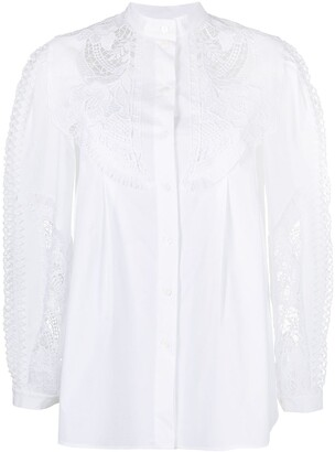 Alberta Ferretti Lace-Trimmed Button-Up Shirt