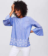 LOFT Embroidered Chambray Bell Sleeve Top