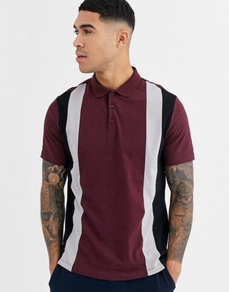 Asos Design DESIGN organic polo shirt with vertical colour block in burgundy-Red