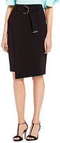 Calvin Klein Luxe Stretch Suiting Belted Faux Wrap A-Line Skirt