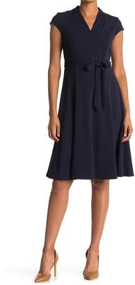 Sharagano V-Neck Belted Dress