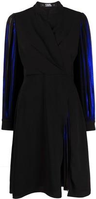Karl Lagerfeld Paris Pleated Sleeve Metallic Dress