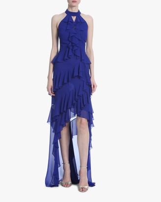 Badgley Mischka Ruffle Halter Hi-Low Dress