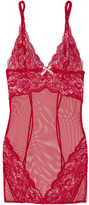 L'Agent by Agent Provocateur Adlina Embroidered Lace And Tulle Chemise - large