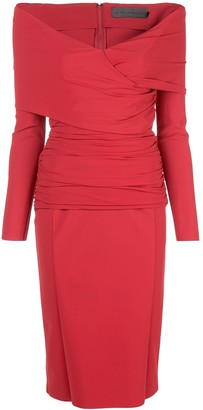 Greta Constantine Off The Shoulder V-Neck Dress