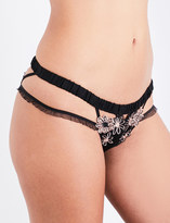 For Love And Lemons Skivvies Heliotrope appliqué tulle and silk-satin briefs