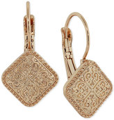 2028 Rose Gold-Tone Filigree Square Drop Earrings