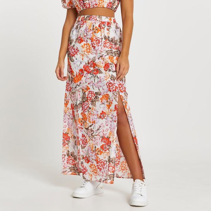 River Island Womens Orange a line floral maxi skirt