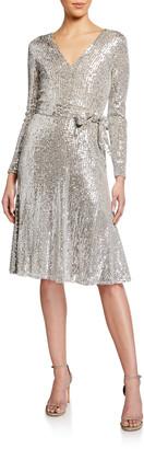 Dress the Population Daphne Sequin V-Neck Long-Sleeve Dress
