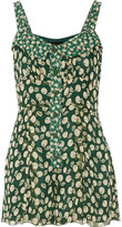 Anna Sui Printed silk-georgette playsuit