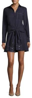 Derek Lam 10 Crosby Tie-Front Cotton Shirtdress