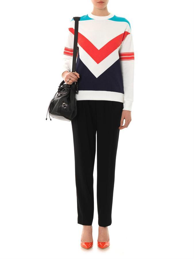 Etre Cécile Chevron-print cotton sweatshirt