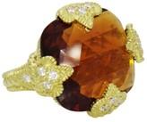 Judith Ripka 18K Yellow Gold Diamond Madeira Citrine Ring