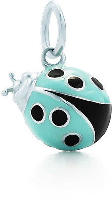 Tiffany & Co. Ladybug charm in sterling silver with blue and black enamel finish, small