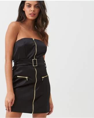 River Island Velvet Zip Front Bandeau Mini Dress - Black