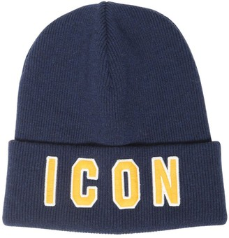 DSQUARED2 Icon Patch Knit Wool Beanie Hat