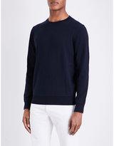 Sandro Crewneck Cotton And Wool-blend Jumper