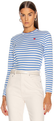 Comme des Garcons Striped Small Emblem Tee in Blue | FWRD