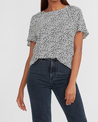 Express Dot Print Ruched Shoulder Tee
