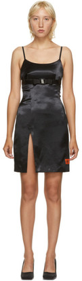 Heron Preston Black Belted Satin Crepe Dress