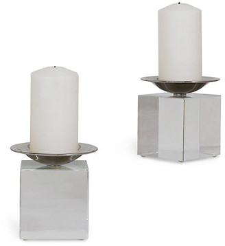 Port 68 Set of 2 Emerson Crystal Candleholders - Clear/Nickel