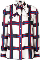 Tory Burch checked tied neck blouse
