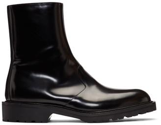 Dries Van Noten Black Patent Zip-Up Boots