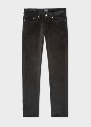 Men's Tapered-Fit Dark Green Corduroy Trousers