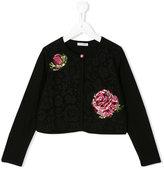 Dolce & Gabbana rose jacquard cardigan - kids - Silk/Cotton/Polyamide/Viscose - 10 yrs