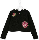 Dolce & Gabbana rose jacquard cardigan - kids - Silk/Cotton/Polyamide/Viscose - 6 yrs