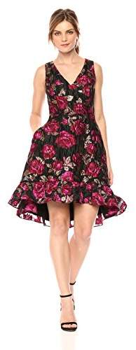 Rachel Roy Women's Sleeveless Metallic Jacquard High Low Dress