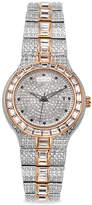 Croton Mens Silver-Tone Crystal Bracelet Watch