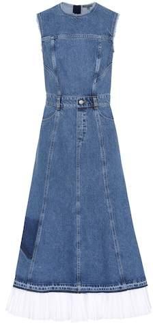 Alexander McQueen Poplin-trimmed denim dress