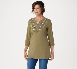 Denim & Co. Petite Round Neck 3/4-Sleeve Tunic with Neck Detail