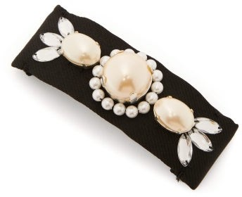 Benoit Missolin Ornela Imitation Pearl-embellished Silk Barrette - Womens - Black Multi