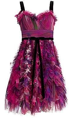 Marchesa Women's Textured Tulle Mini A-Line Cocktail Dress