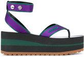 Versace logo stamp platform sandals - women - Leather/Viscose/rubber - 38