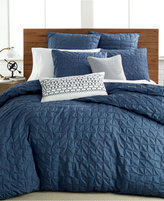 Bar III Box Pleat Indigo Twin Duvet Cover