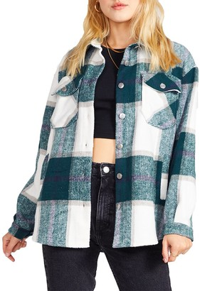 Steve Madden Plaid Shacket Green