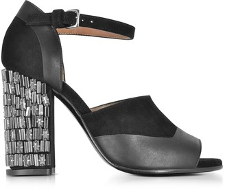 Marni Black Velvet and Leather Heel Sandal w/Crystals